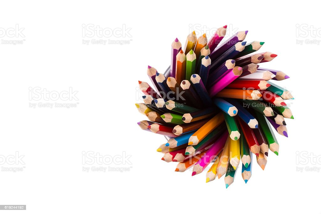 Set of color pencils in office bins stock photo