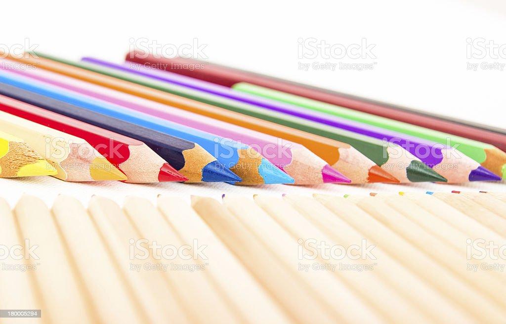 세트마다 백색과 연필 royalty-free 스톡 사진