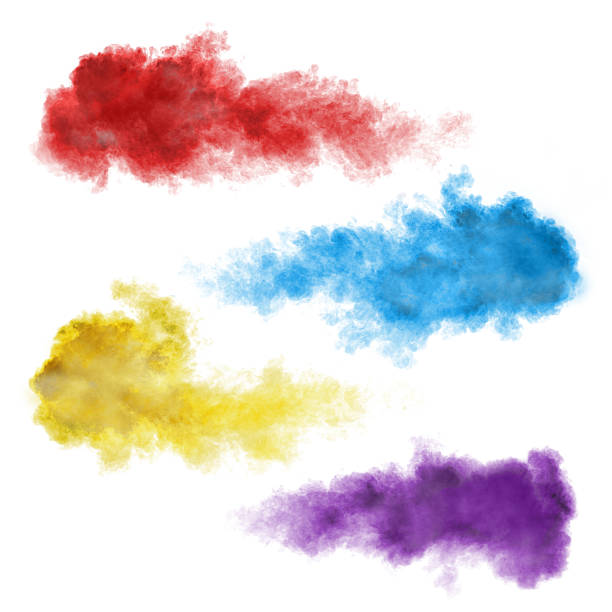 set of color smoke explosions on white - blue powder stock photos and pictures