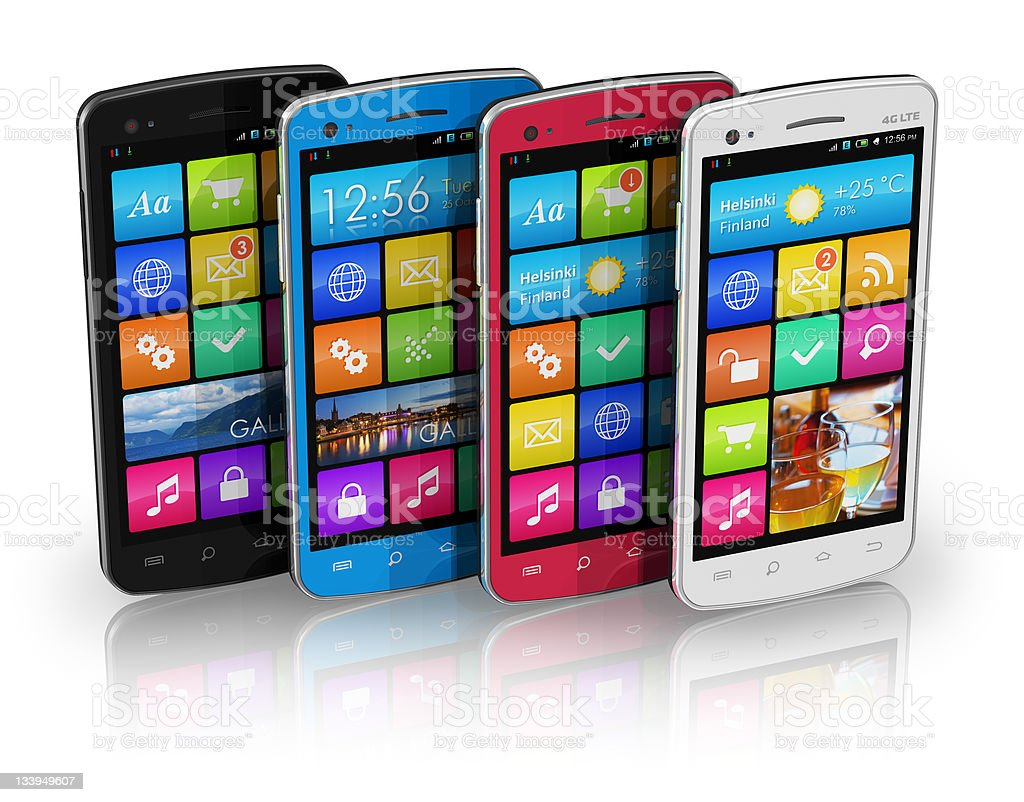 Set of color touchscreen smartphones royalty-free stock photo