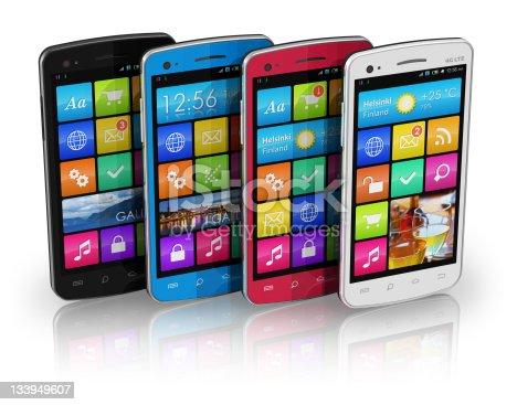 istock Set of color touchscreen smartphones 133949607