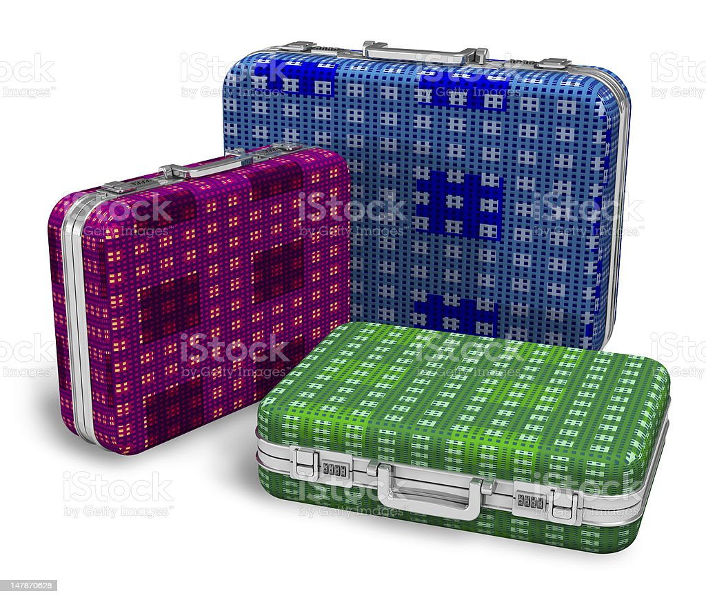 Set of color travel cases royalty-free stock photo
