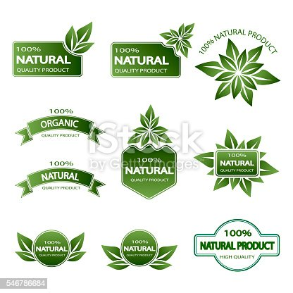 istock set of colored badges natural product 546786684