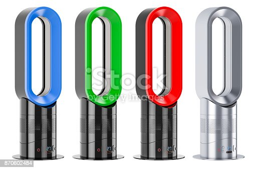 istock Set of colored bladeless air fans or air multipliers, 3D rendering isolated on white background 870602484