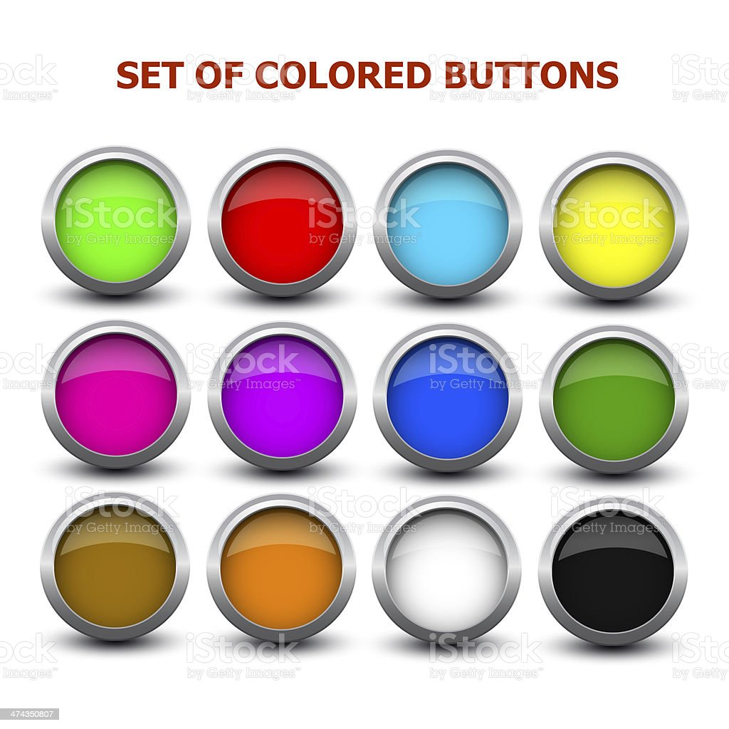 set of colored buttons stock photo