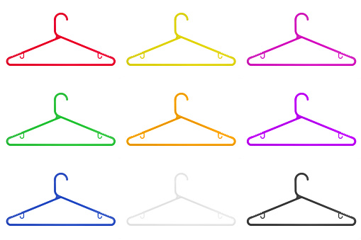 Colored clothes hangers isolated on a white background