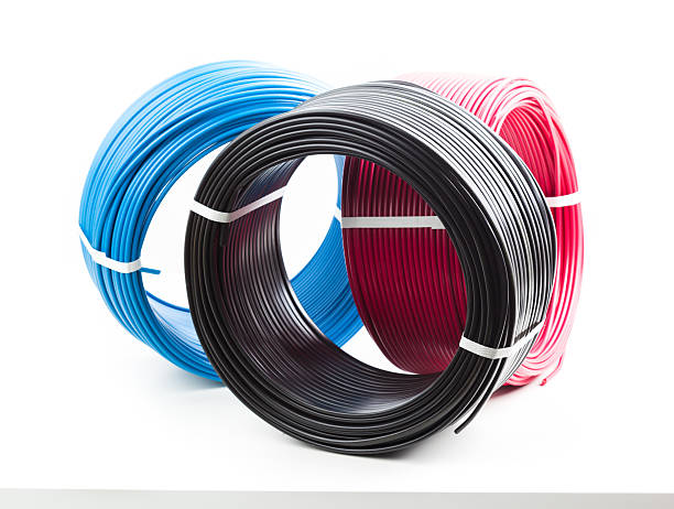 set of colored electric cable on white background - Photo