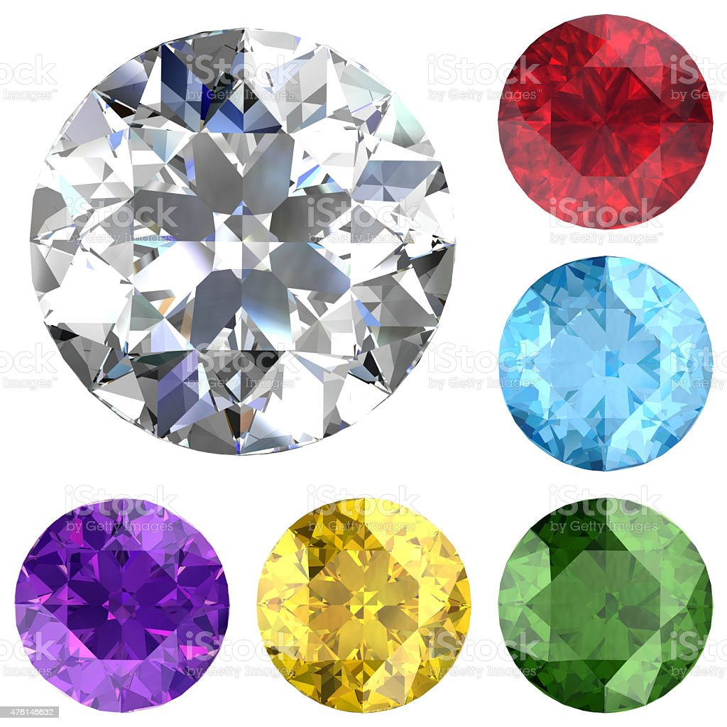 Set of colored gems (high resolution 3D image) stock photo