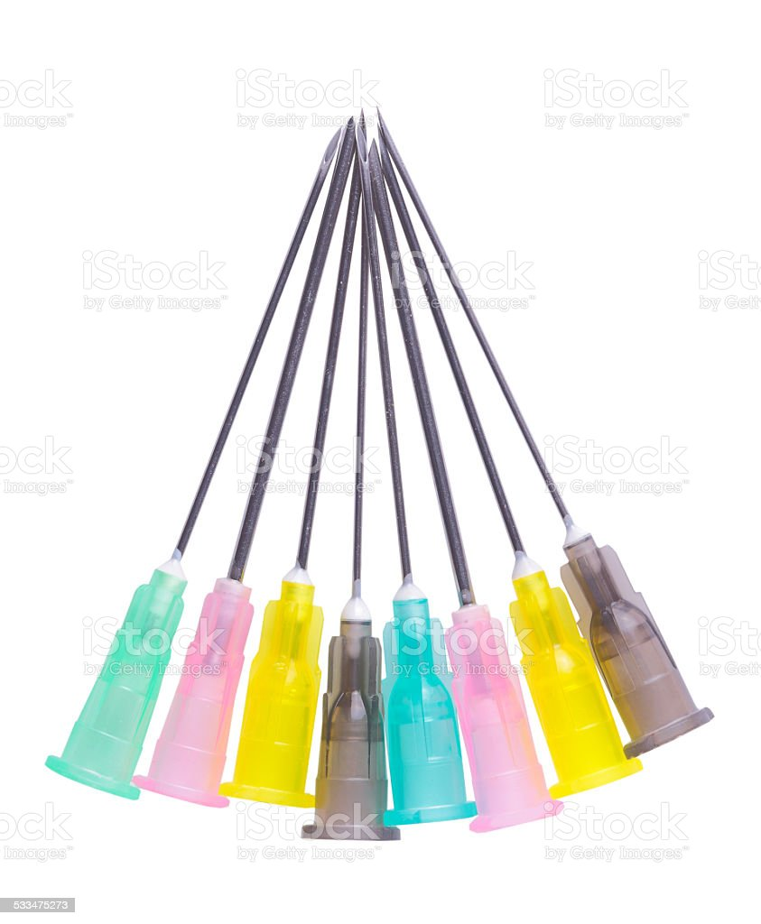Set of colored medical needles stock photo