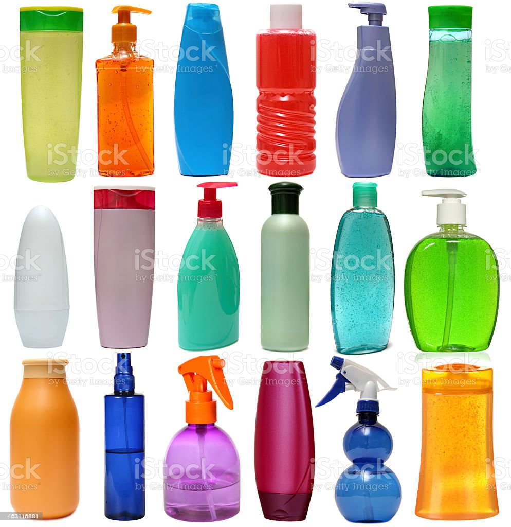 Set of colored plastic soap and beauty product bottles stock photo