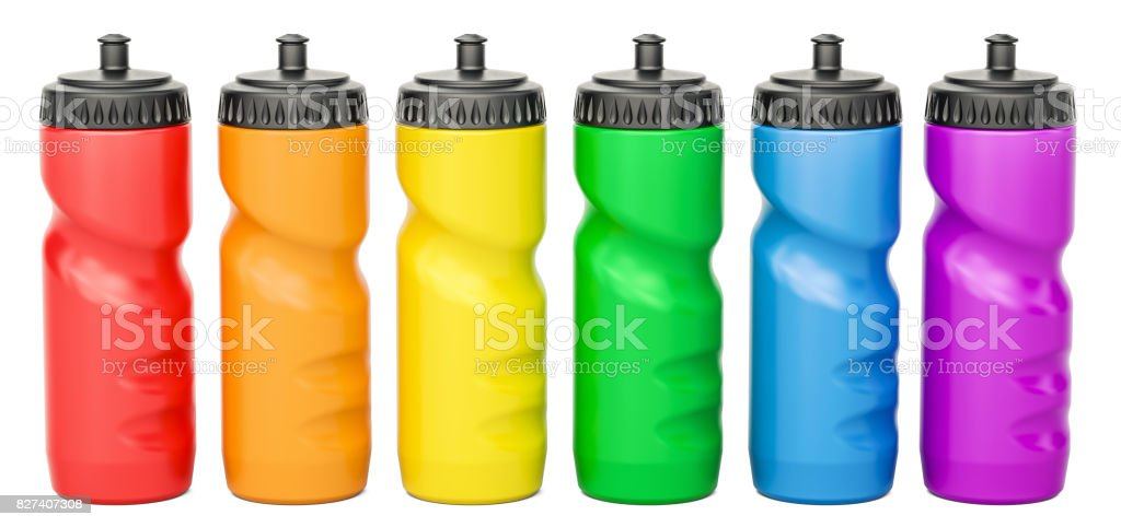 Set of colored plastic sport water bottles, 3D rendering stock photo