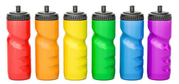 Set of colored plastic sport water bottles, 3D rendering stock photo