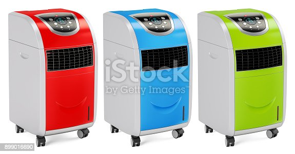 istock Set of colored portable air conditioners, 3D rendering isolated on white background 899016690