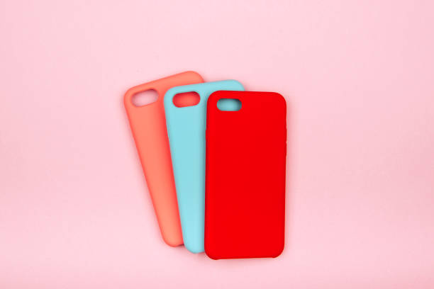Set of colored silicone covers for smart phone stock photo
