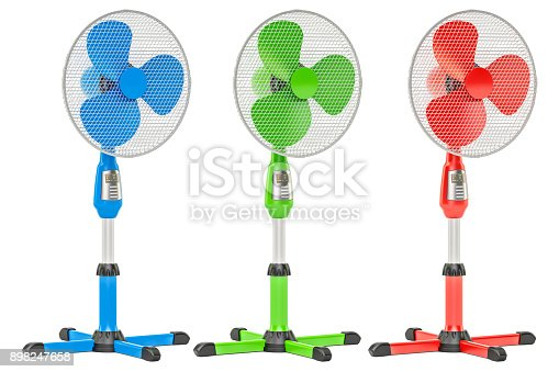 istock Set of colored standing pedestal electric fans, 3D rendering isolated on white background 898247658
