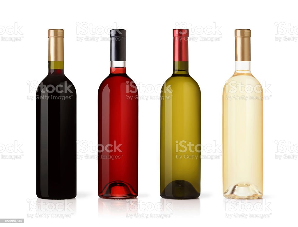 Set of colored wine bottles isolated on a white background stock photo