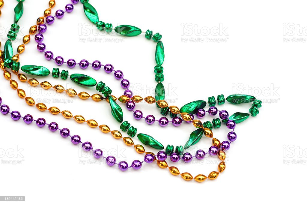 Set of colorful beads over a white background stock photo