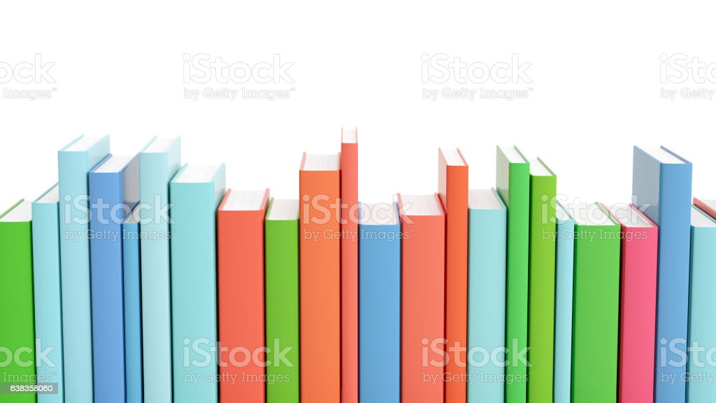 Set of colorful books isolated stock photo