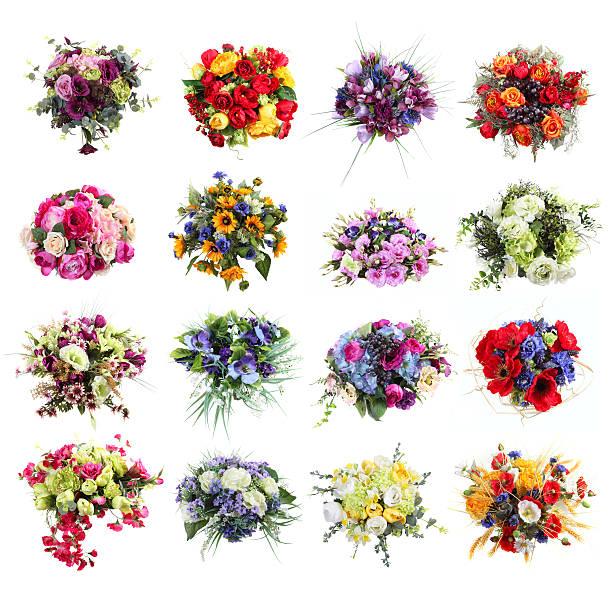 set of colorful bouquets of artificial flowers isolated - bloemstuk stockfoto's en -beelden