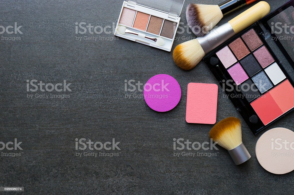 Set of colorful cosmetics on black background stock photo