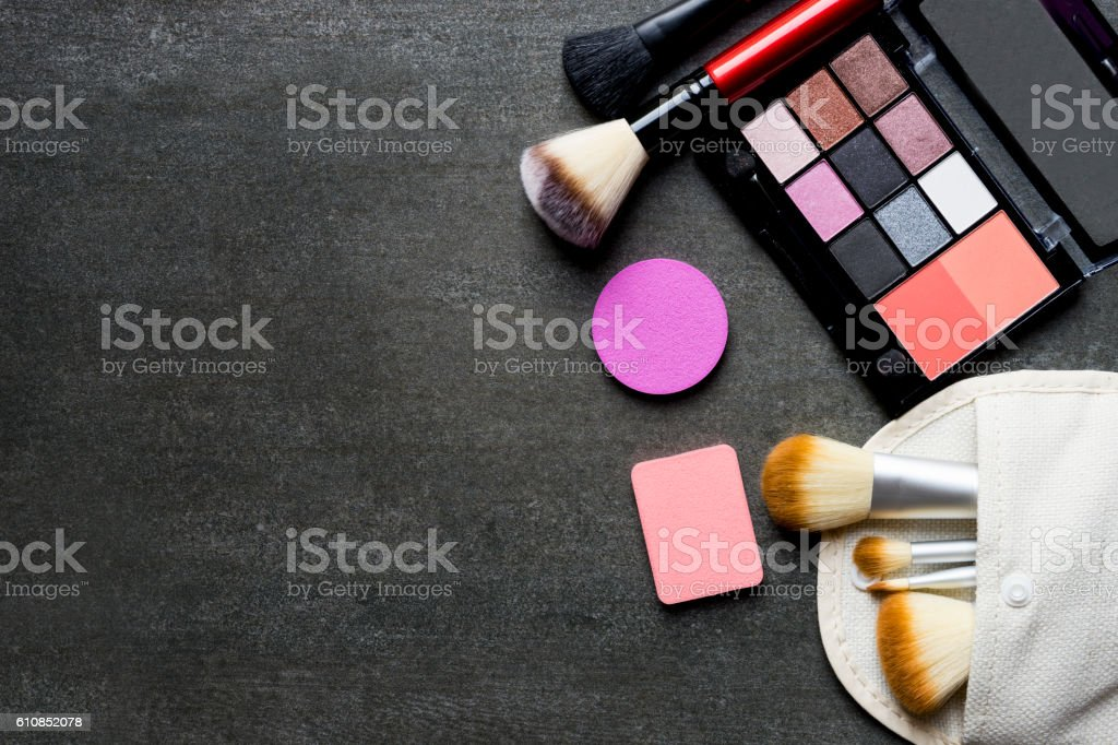 Set of colorful cosmetics on black background - foto stock