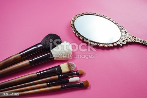 istock Set of colorful cosmetics on pink background 869167148