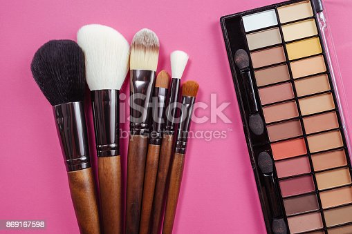 istock Set of colorful cosmetics on pink background 869167598