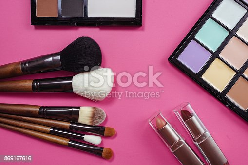 istock Set of colorful cosmetics on pink background 869167616