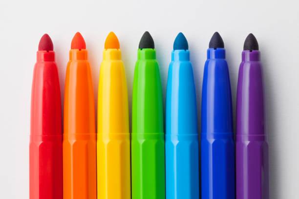ensemble de stylo feutre coloré - stylo feutre photos et images de collection