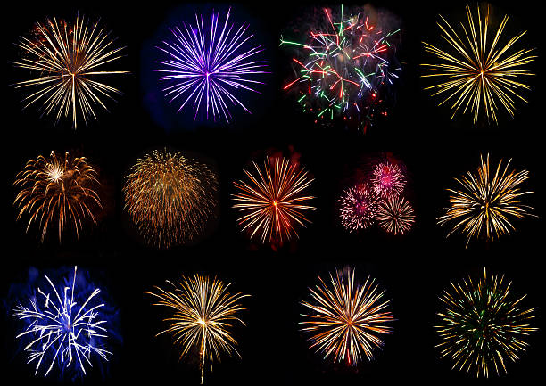 set of colorful fireworks isolated on black background. - firework display stock pictures, royalty-free photos & images
