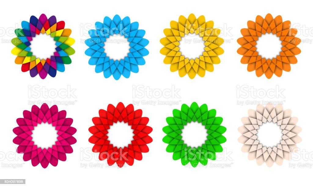 Set of colorful flower icon logo illustration stock photo