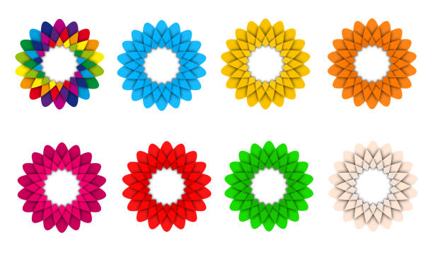 set of colorful flower icon logo illustration - abstract logo stock photos and pictures