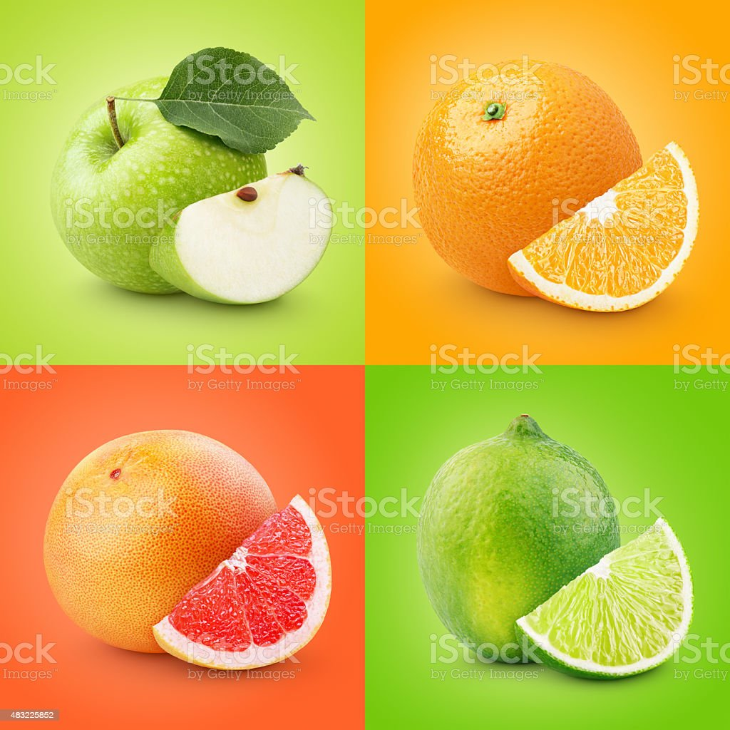 Set of colorful fruits - apple, orange, grapefruit, lime stock photo