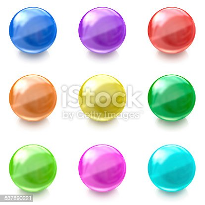 istock Set of colorful glass balls on white background 537890221