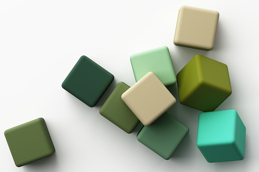 istock Set of colorful green realistic square box with fabric texture on white background. 3d rendering 1180825582