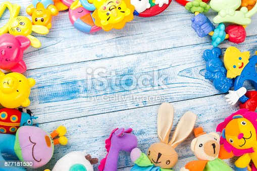667590810 istock photo Set of colorful Kids toys frame. Copy space for text 877181530