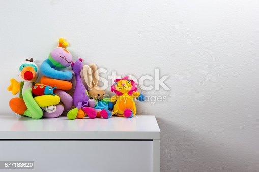 istock Set of colorful Kids toys frame. Copy space for text 877183620