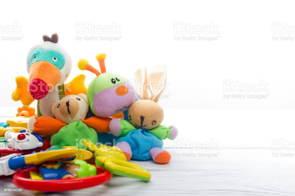 Set of colorful Kids toys frame. Copy space for text - Royalty-free Baby - Human Age Stock Photo