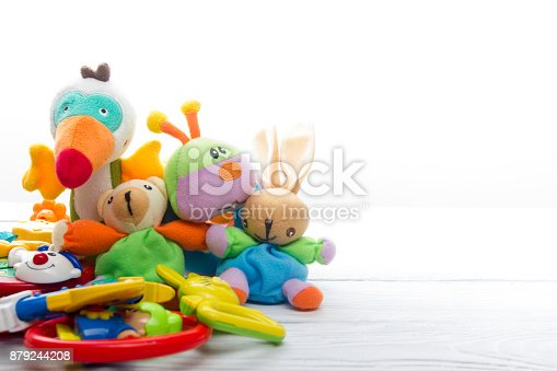 istock Set of colorful Kids toys frame. Copy space for text 879244208