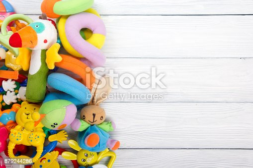 istock Set of colorful Kids toys frame. Copy space for text 879244286
