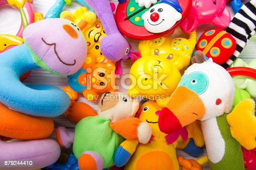 istock Set of colorful Kids toys frame. Copy space for text 879244410