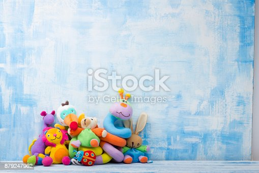 istock Set of colorful Kids toys frame. Copy space for text 879247962