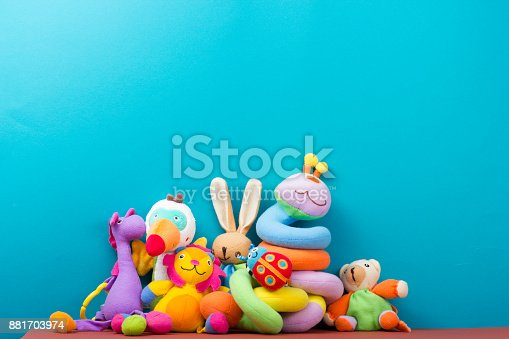 istock Set of colorful Kids toys frame. Copy space for text 881703974