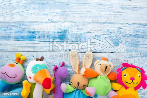 istock Set of colorful Kids toys frame. Copy space for text 882747588