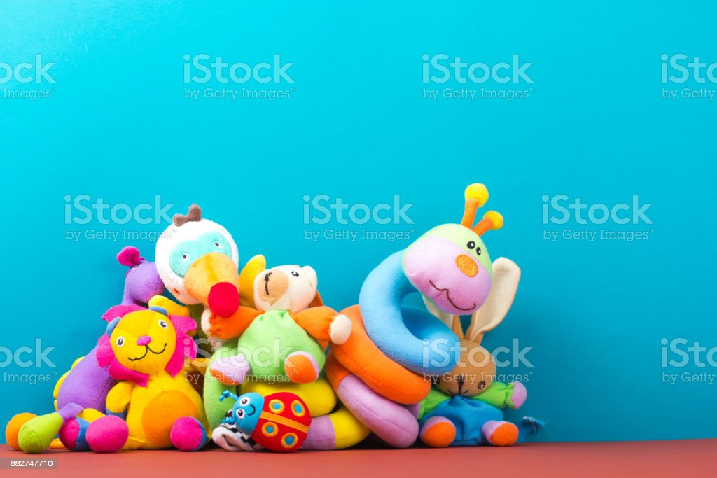 Set of colorful Kids toys frame. Copy space for text royalty-free stock photo