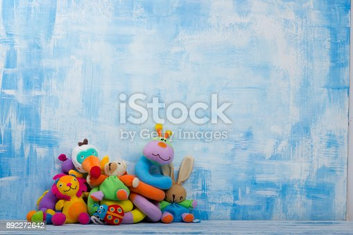 istock Set of colorful Kids toys frame. Copy space for text 892272642