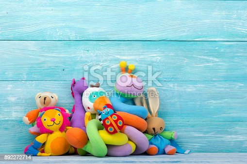 istock Set of colorful Kids toys frame. Copy space for text 892272714