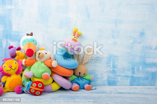 istock Set of colorful Kids toys frame. Copy space for text 892992168