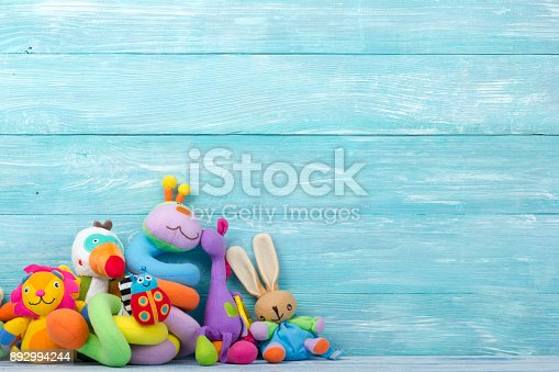 istock Set of colorful Kids toys frame. Copy space for text 892994244