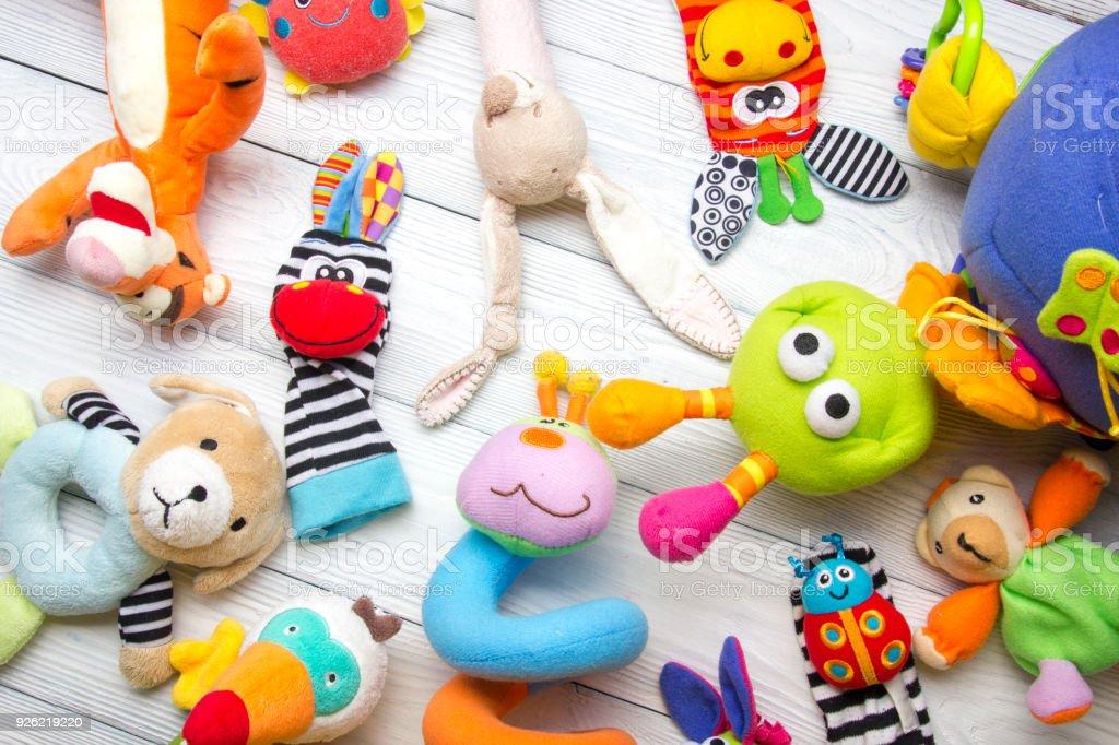 Conjunto de colorido quadro de brinquedos de crianças. Copie o espaço para texto - foto de acervo
